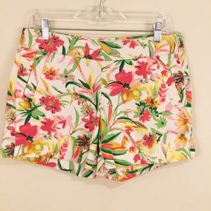 J. Crew Floral Chino Flat Front Short White Pink 6